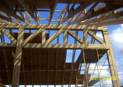 Roof trusses over construction building