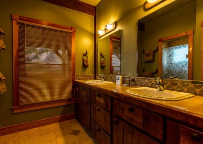 Bathroom remodel including custom tile work and pleasing aesthetics